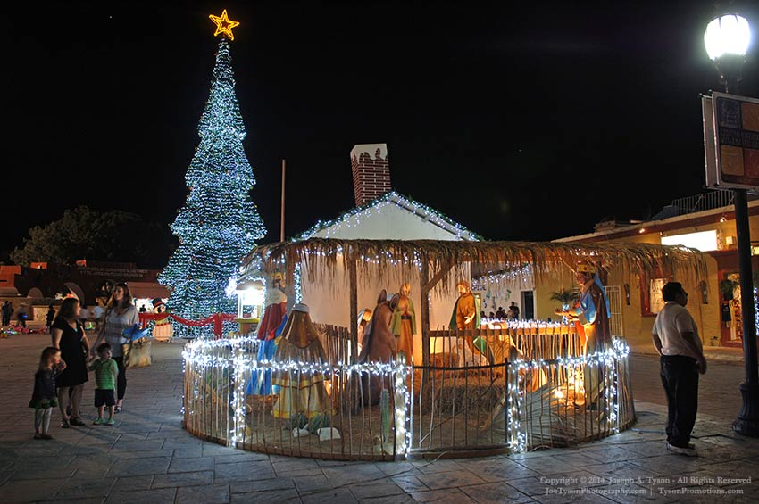 Christmas decorations in the town plaza in downtown San Jose del Cabo.