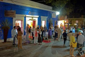 People enjoying the Art Walk in San Jose del Cabo.
